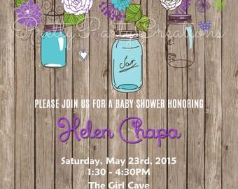 Rustic PURPLE and TEAL Hanging Jars invitation - You Print