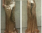ON SALE! Peach Maxi - Gorgeous high quality sequins- Long sequined skirt (s,m,l,xl) Ships asap!