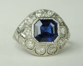 Edwardian Sapphire and Diamond Bombe Ring in Platinum