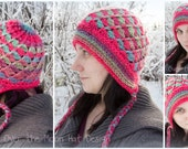 Winter hat, winter hat with earflaps, crochet winter hat, customized winter hat,  Arctic Whimsy, Arctic Whimsy hat