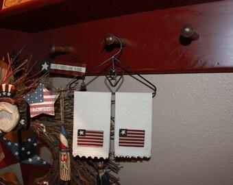 Primitive Country Americana Homespun Towel Bar Hanger for Peg Shelfs