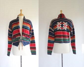 Bolero Sweater / Southwestern Sweater / Striped Sweater / Cropped Sweater / Tribal Sweater / Ikat Sweater