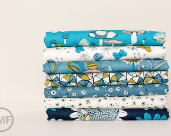 Fat Quarter Bundle Arcadia in Blue, 7 Pieces, Sarah Watson, 100% GOTS-Certified Organic Cotton, Cloud9 Fabrics