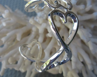 Sterling Silver Alternating Hearts or Elaborate Infinity Cuff Bracelet