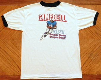 vintage Earl Campbell Houston Oilers T Shirt 70s promo ringer tee Large rare 50/50 jersey