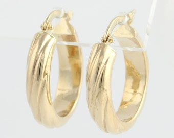 Twisted Hoop Earrings - 14k Yellow Gold Lightweight Estate Snap Closures As Is f669