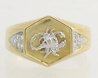 Men's Scorpion Ring - 18k Yellow & White Gold Scorpio High Karat Cubic Zirconia F9705