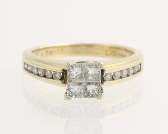 Engagement Ring Composite Diamond - 14k Yellow & White Gold Genuine .75ctw Unique Engagement Ring L1017