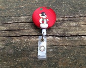 Snowman Fabric Covered Button Retractable Badge Reel Clip Holder