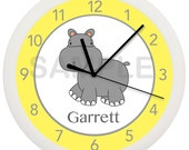 Hippopotamus Nursery WALL CLOCK