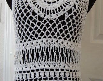 Woman's Crochet White Lace Tank Top size medium