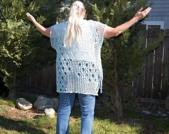 Woman's Crochet Tunic Cover Up Top Side Lace in Ocean Blue Cotton fits Large X Large