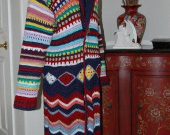 Woman's Crochet Coat Multi-color size medium/large