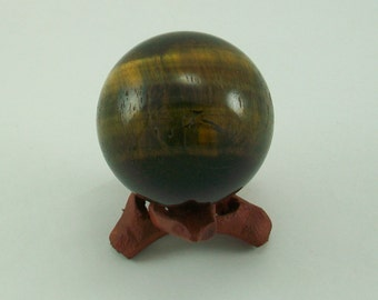 Tiger Eye Sphere 50mm with Free Rosewwod Sphere Stand