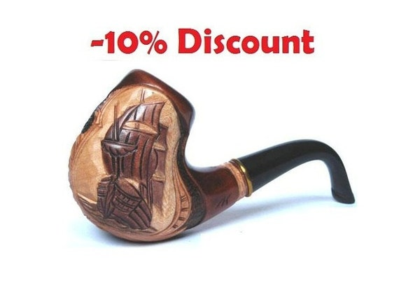 Author's Tobacco pipe/pipes Smoking Pipe/Pipes for Pipe Smokers, Wooden Pipe/Pipes Long Carved SAILER - Exclusive Smoking Pipe