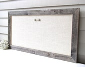 20 inch high x 26 inch wide Barnwood Frame MAGNETIC Bulletin Board with IVORY WHITE Burlap Fabric