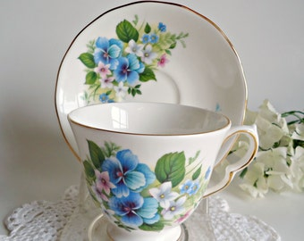 Teacup and Saucer Vintage Queen Anne Fine Bone China England Blue Flowers