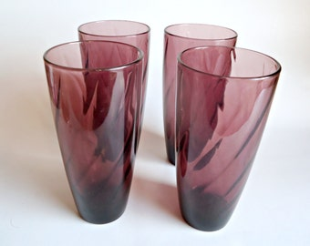 4 Moroccan Amethyst Goblets Ice Tea Glasses Hazel Atlas Glass 1960's