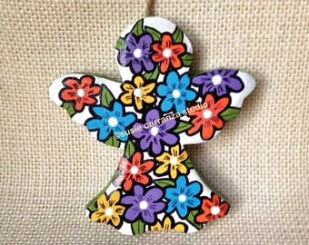 Spring Angel by Susie Carranza. Wood Angel, handpainted with colorful whimsical flowers. Great gift for mother's day or graduates.