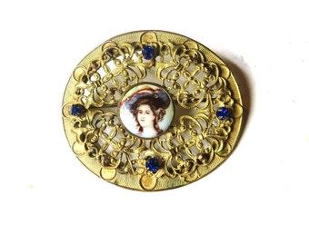 Art Deco Brooch Gold Brass Filigree Victorian Revival Cameo Limoges Porcelain Woman Sapphire Blue Glass Rhinestones Sash Pin Vintage 191