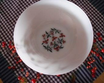 Fire King Oven Ware - Serving Bowl - White Milk Glass - Honeysuckle Pattern - Made in USA - Mid-Century Country Kitch