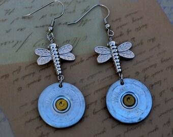 Shotgun Shells Earrings ~ Winchester and Dragonflies ~ Bullet Shell Casings Earrings