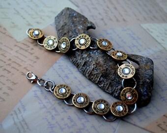 BULLET BRACELET ~ Tennis Bracelet Bullet Shell Casing Bracelet ~ 30-06 Caliber with CRYSTAL Swarovski Gems