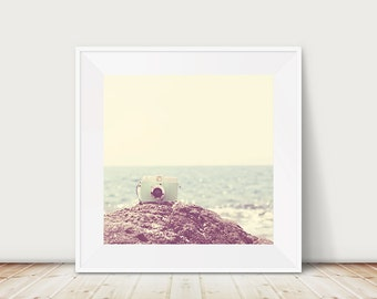 mint camera photograph beach photograph ocean photograph retro camera print travel photography beach print ocean print