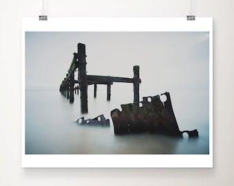 ocean photograph ocean print beach decay photograph sea defenses photograph abandoned art ocean art industrial art