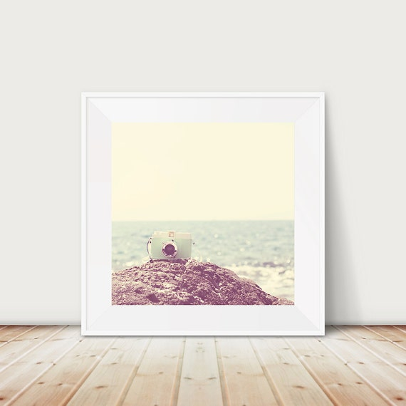 mint camera photograph beach photograph ocean photograph retro camera print travel photography beach print ocean print