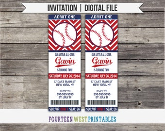 ON SALE!  Baseball Ticket Birthday Invitation -- Printable Digital File