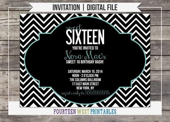 ON SALE!  Chevron Sweet 16 Birthday Invitation -- Printable, Digital File