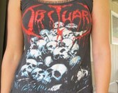 1991 OBITUARY Vintage black metal womens tank top altered from Men's TShirt skulls spider ooak