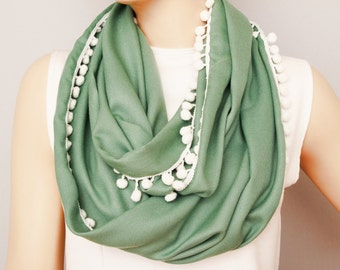 Pompom trimmed Infinity scarfLoop scarf gift for her necklace  scarf pashmina fabric adult scarf
