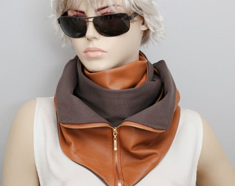 GENUINE lambs LEATHER unisex long  scarf ,camel ,with zippers