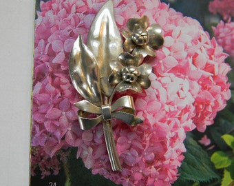STERLING SILVER, Hand Made Vintage Sterling Silver Bouquet Pin