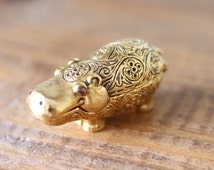 Rare Vintage Brass Hippo Shaped Max Factor Perfume Locket Pill Box Compact