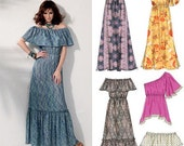 Off the Shoulder Maxi Dress Pattern McCalls 6558 (Womens sizes 8-10-12-14-16)