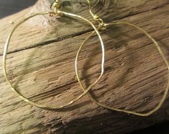 Large Organic Gold Hoop Earrings  - Freeform Hammered Artisan Jewelry