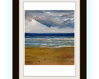 Wave After Wave - A4 A3 or A2 Size Limited Edition Giclee Art Print of Original Beach Ocean Seascape Oil Painting from RussellArt