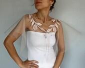 Sheer Tulle Bridal Cape, Romantic Summer Wedding, Powder Pink Bolero, Capelet, Tulip Applique Lace Spring Wedding Party Shrug