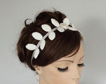 Grecian Godness Bridal Crown, Weddings Headband, Pearl, Rhinestone, White Gray,  Grecian Bride, Unique Design