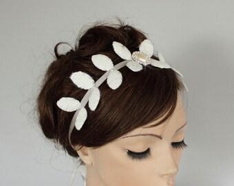 Grecian Godness Bridal Crown, Weddings Headband, Pearl, Rhinestone, White Gray. Handmade. Unique Design
