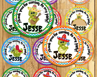Personalized Birthday tags Fiesta Birthday stickers Party favor tag Thank you tag Gift tag turtle Cupcake toppers Cinco de mayo Party PRECUT