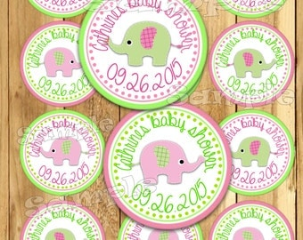 Baby girl Elephant Custom Baby Shower stickers Party favor tags Thank you tags Gift tag Cupcake toppers Birthday Party tags pink PRECUT