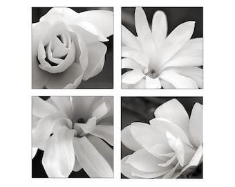 Flower Print Set, Floral Prints, Magnolia Photo Set, sepia, black and white floral photographs,wall art, wall decor, dreamy, home decor,