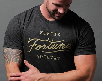 Men's clothing - Short sleeve tshirt with gold screen print graphic - everyday tee - made in the usa tshirts - best quality tshirts for men