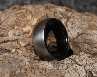 Wood Ring Any Size  - Ebony wood and stainless steel ring, inner Wood sleeve