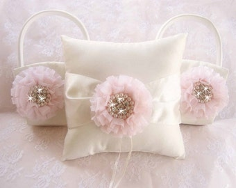 Flower Girl Basket Set  ..  Ivory Wedding Ring Pillow  Two Baskets Pink Flowers Beach Wedding Ivory and Cream Custom Colors too