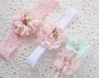 Shabby Chic Baptism Baby Headbands Newborn Baby Gift Set Baby Headbands Newborn Shower Gift Blush Baby Headbands
